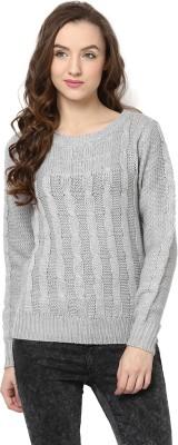 Yepme Solid Round Neck Casual Women's Grey Sweater