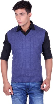 eWools Solid V-neck Party Men's Blue Sweater