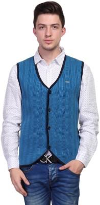 TSAVO Self Design V-neck Casual Men's Blue Sweater