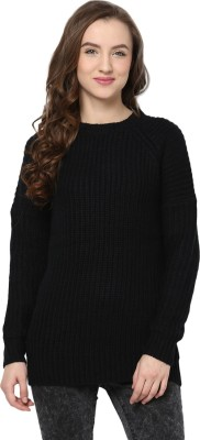 Yepme Solid Round Neck Casual Women's Black Sweater