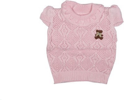 Icable Self Design Round Neck Casual Baby Girl's Pink Sweater