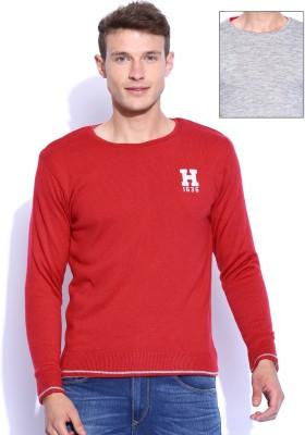 Harvard Solid Round Neck Men's Reversible Red Sweater