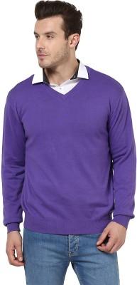 Yepme Solid V-neck Casual Men,s Purple Sweater