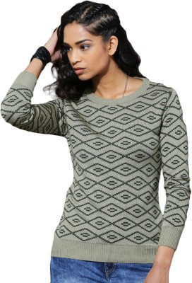 Roadster Self Design Round Neck Casual Women Beige Sweater at flipkart