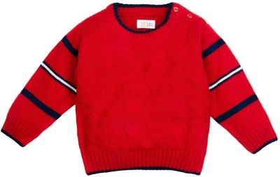 Mom & Me Solid Round Neck Casual Baby Boy's Red Sweater