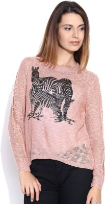 Mast & Harbour Printed Round Neck Casual Women's Pink Sweater