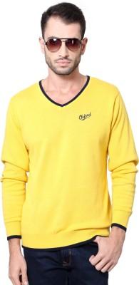University of Oxford Woven V-neck Men's Yellow Sweater
