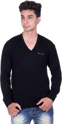 Pierre Carlo Solid, Self Design V-neck Casual Men's Black Sweater