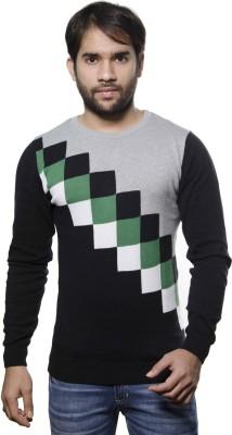 AMX Argyle Round Neck Casual Men's Black, Grey, Dark Green, White Sweater
