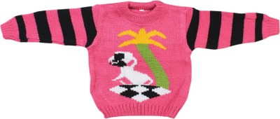 Fusion Fashion Solid Round Neck Casual Baby Girl's Pink Sweater