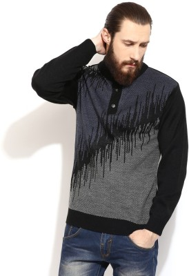 COBB Striped Round Neck Casual Men's Black Sweater