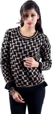 Envy Geometric Print Round Neck Casual Women's Beige Sweater