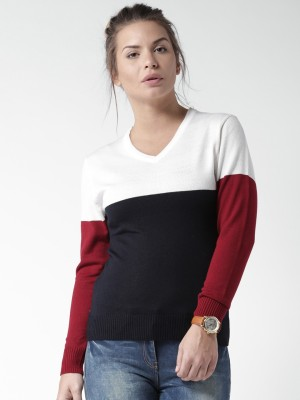 Mast & Harbour Solid V-neck Casual Women,s Dark Blue, White Sweater