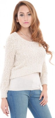 ESTANCE Solid Round Neck Casual Women's White Sweater