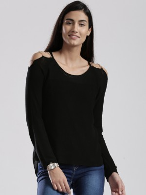 D Muse by DressBerry Solid Round Neck Casual Women's Black Sweater