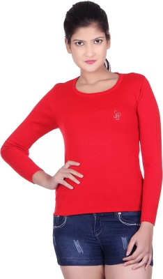 Spink Solid Round Neck Casual Women's Red Sweater