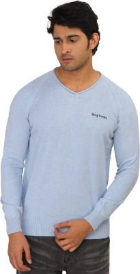 Being Human Solid V-neck Men's Blue Sweater