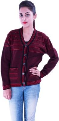 Pazaro Striped V-neck Casual Women's Black Sweater