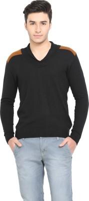 Northern Lights Solid V-neck Casual Men's Black, Gold Sweater