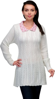 Belle Solid V-neck Casual Women,s White, Pink Sweater