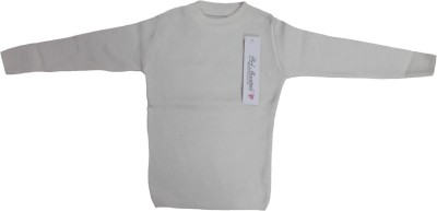 Mankoose Solid Round Neck Casual Boy's White Sweater