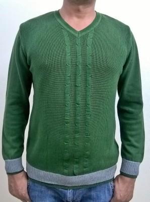 Locus Classicus Solid V-neck Men's Dark Green Sweater