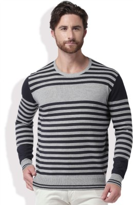 Mast & Harbour Self Design Round Neck Casual Men Black, Grey Sweater