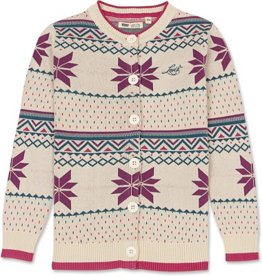 Levi's Embroidered Round Neck Casual Girl's Beige Sweater