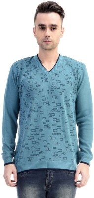 CLUB AVIS USA Printed V-neck Casual Men's Green Sweater