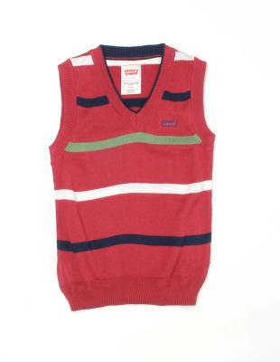 Levi's Striped V-neck Casual Girl's Red Sweater