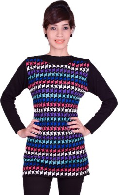 Cee-For Checkered Round Neck Casual Women's Multicolor Sweater