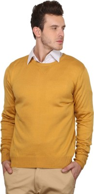 Northern Lights Solid Round Neck Men's Yellow Sweater