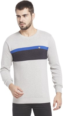 Globus Solid Round Neck Casual Men,s Grey Sweater