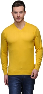 Tailor Craft Solid V-neck Casual Men's Yellow Sweater