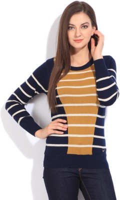 Flying Machine Striped Round Neck Casual Women White, Beige, Blue Sweater at flipkart