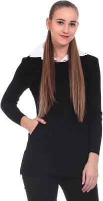 Saiints Solid Crew Neck Casual Women's Black Sweater