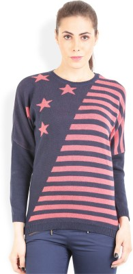 Wrangler Striped, Printed Round Neck Casual, Party Women's Blue, Pink Sweater