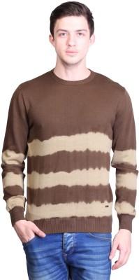 TSAVO Striped Round Neck Men's Brown Sweater