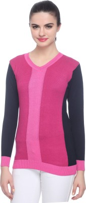 Miss Grace Self Design V-neck Party Women's Pink Sweater