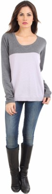 FashionHaven Solid V-neck Casual Women's Grey, White Sweater