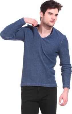 Claude 9 Solid Crew Neck Casual Men's Blue Sweater