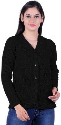 eWools Self Design V-neck Casual Women Black Sweater at flipkart