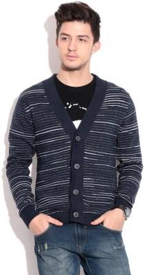 Prakum Striped V-neck Casual Men's Blue, Grey Sweater