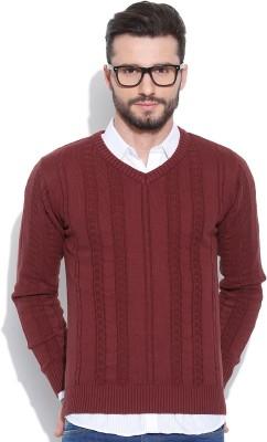 HRX by Hrithik Roshan Self Design V-neck Casual Men's Red Sweater