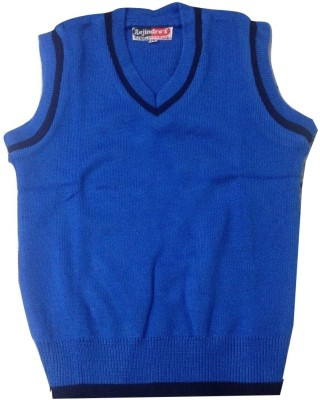 Rajindras Self Design V-neck Casual Men's Blue Sweater