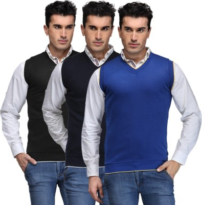 TSX Solid V-neck Casual, Party, Formal Men's Black, Blue, Blue Sweater