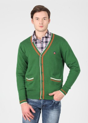 American Swan Solid V-neck Casual Men's White, Green Sweater