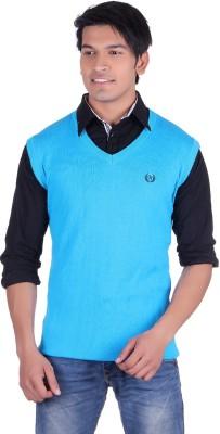 Ogarti Solid V-neck Casual, Party, Festive Men,s Light Blue Sweater