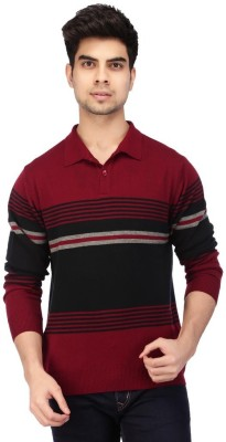 ACROPOLIS by Shoppers Stop Striped V-neck Casual Men's Red Sweater