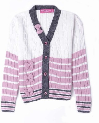 London Fog Striped V-neck Casual Baby Girl's White Sweater